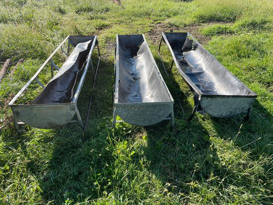 (3) galvanized bunk feeders. 12ft long