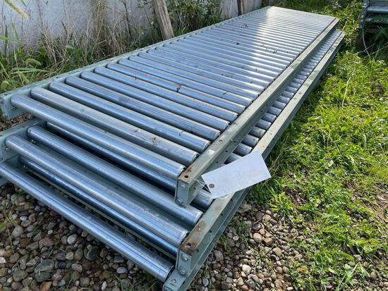 New (3) 30in wide by 10ft long roller tables