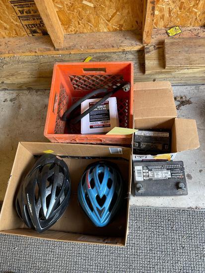 Bicycle helmets, batteries, sand blast media 8lb