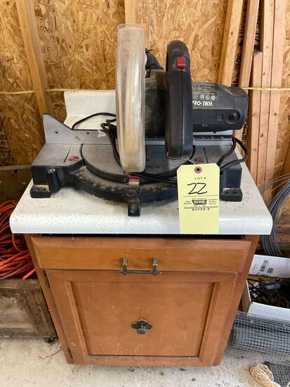 Pro-Tech 10in miter saw and cabinet