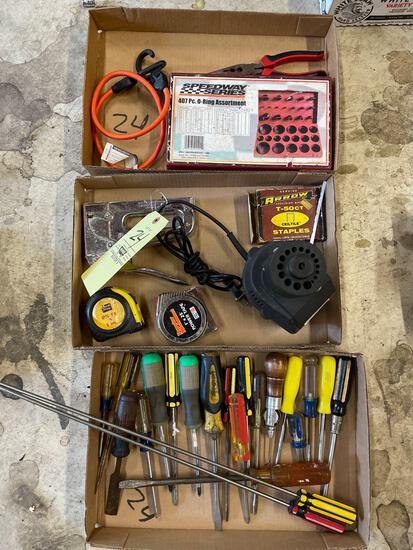 Screw drivers, staple gun, tape measure, O-ring kit