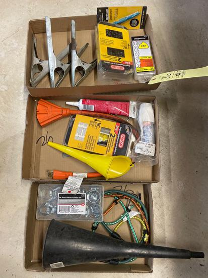 Funnels, chainsaw blades, clamp sets, bungees
