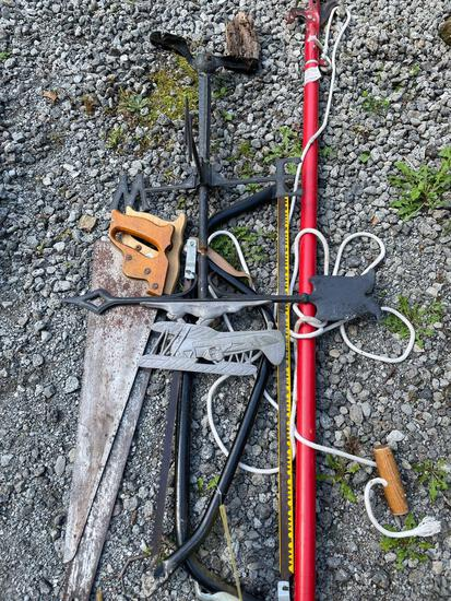 Bow saws, airplane weather vein, hand saws, pole saw