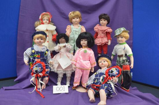 Collection of 8 vintage, hand painted, porcelain dolls