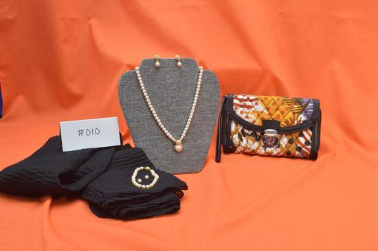 "Vera Bradley Ultimate Wristlet in Painted Feathers, Vintage Monet 18"" pearl necklace, bracelet,"