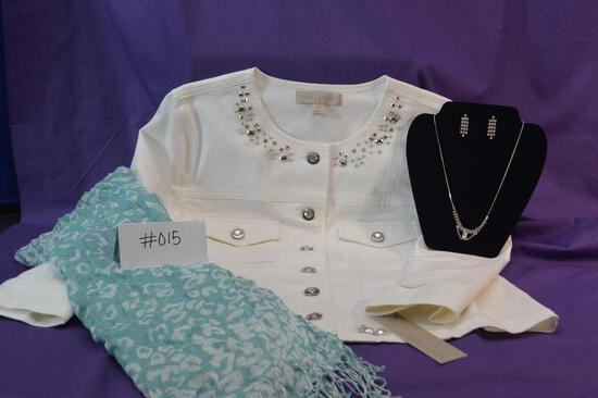 Laura Ashley white jacket in Size M with a contemporary silver/crystal necklace