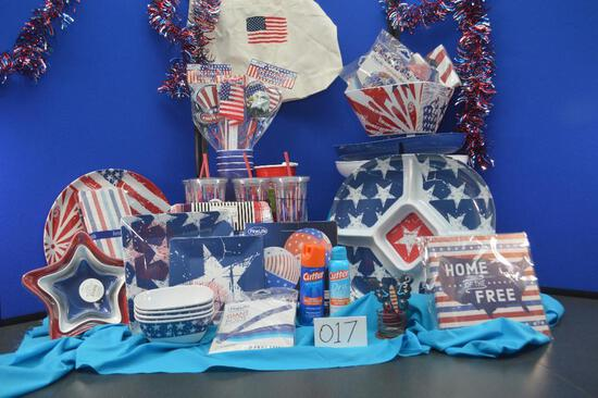 Patriotic themed picnic/party basket. It is never too early to plan your 4th of July festivities!