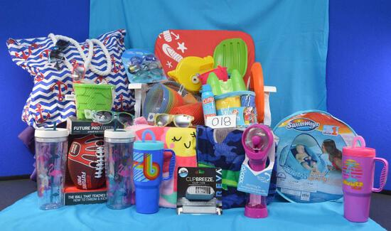 Be ready for the beach or pool with a basket filled with essentials. Comes with a beach chair.