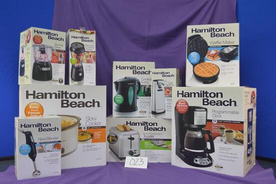 New home starter kit! This basket includes 9 Hamilton Beach small kitchen appliances.