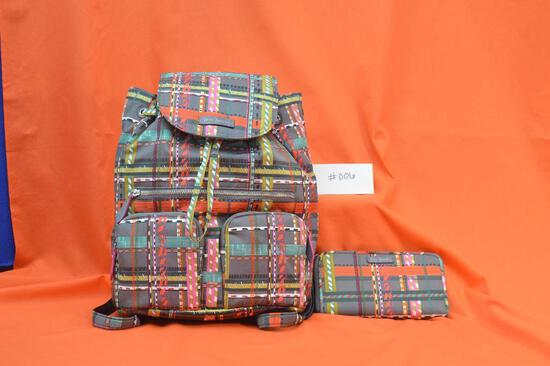 Vera Bradley Midtown Cargo Backpack and Wristlet in City Plaid