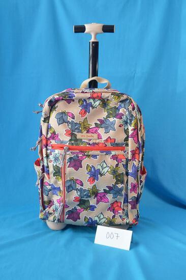 Vera Bradley Rolling Backpack in Falling Flowers