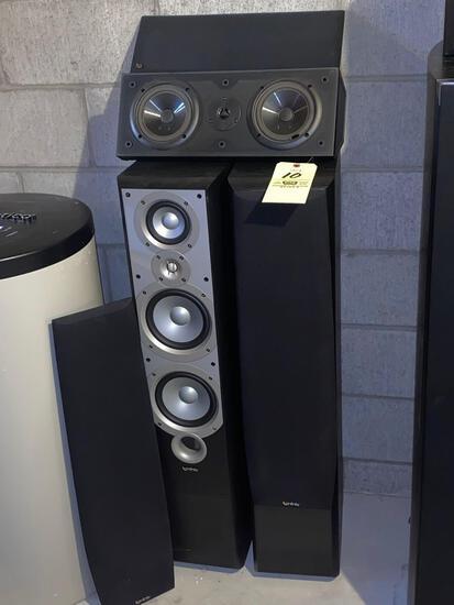 "Pair Infinity Primus 360 speakers, 8 ohms. 40"" tall."