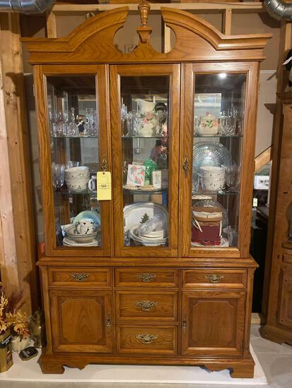 "Bassett oak 2-pc. china cabinet, 85"" tall x 52"" wide. NOT CONTENTS."