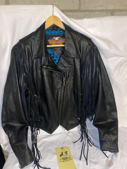 Harley Davidson black leather jacket, size XL women's.