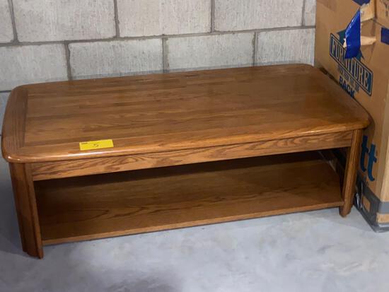 """Modern oak coffee table, 50"""" long x 25""""."""