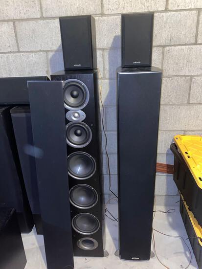 "Polk Audio model RTI A9 speakers, 48"" tall, & pair Polk Audio mini monitors."