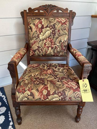 Victorian arm chair, upholstered.
