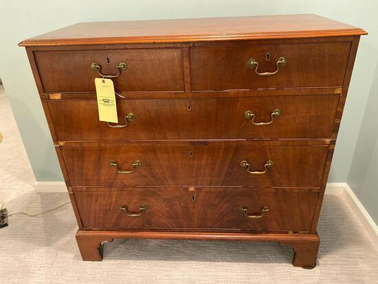 Antique 5-Drawer chest, has some small veneer pcs. missing.