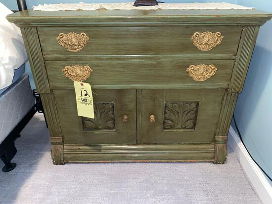 """Green painted Victorian oak wash stand, 36"""" wide."""