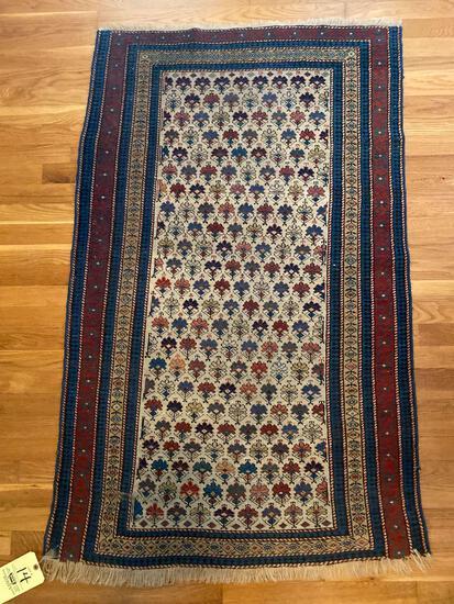Oriental throw rug, 3 x 4.8.
