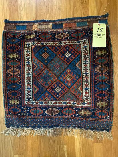 Oriental rug, 2.5 x 2.4. Has (7) button holes on one side.