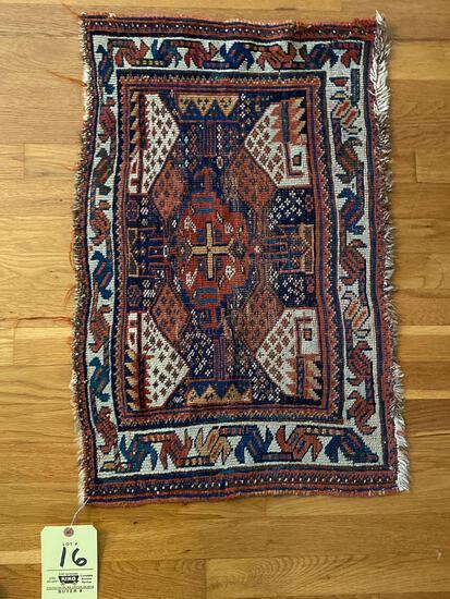 Oriental throw rug, 2.6 x 1.7