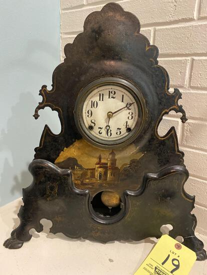 "Hand painted on metal Seth Thomas clock, 20"" tall."