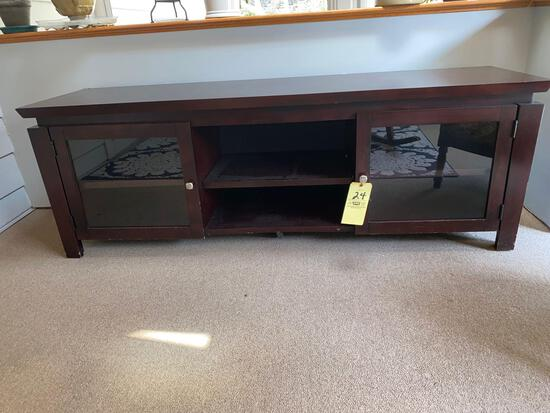 """TV entertainment cabinet, 70"""" long x 24"""" tall."""