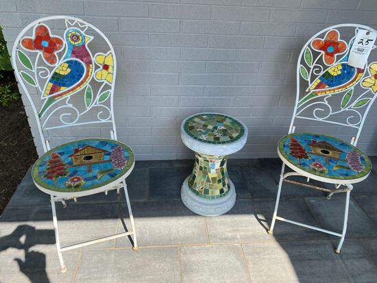 Inlaid colorful ceramic folding chairs & pedestal.