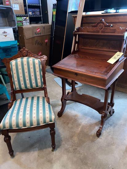 """Victorian 2-pc. burled walnut lift top desk w/ Chair, 46"""" tall x 25"""" wide."""
