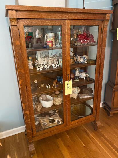 """Oak Empire style China cabinet, 62"""" tall x 39.5"""" wide."""