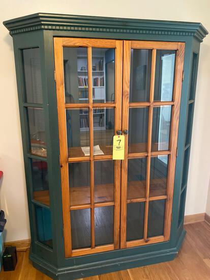"Modern pine China cabinet, 70"" tall x 56"" wide."