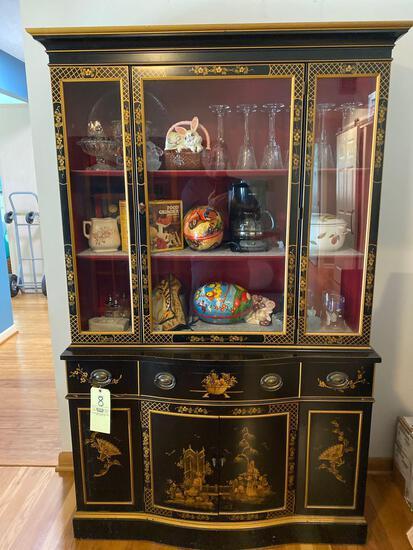 "Oriental scene China cabinet, 71"" tall x 44"" wide."