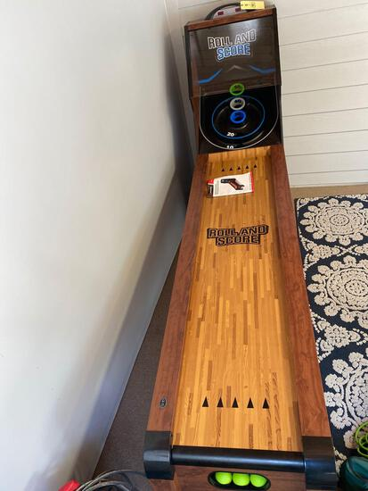 Roll and Score ski-ball type game, 9' long x 2' wide.