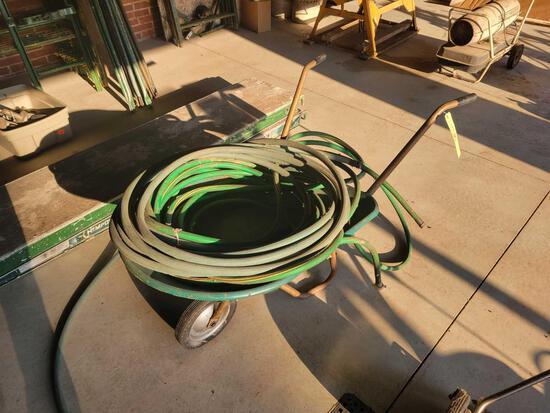 Solid wheel metal wheel barrow with hoses