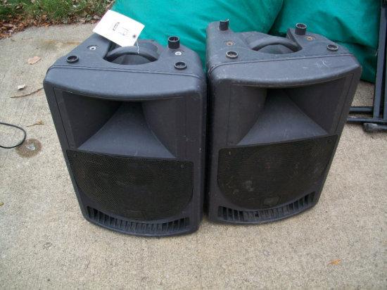 "2 Powered P Audio 12"" Portable Speakers"