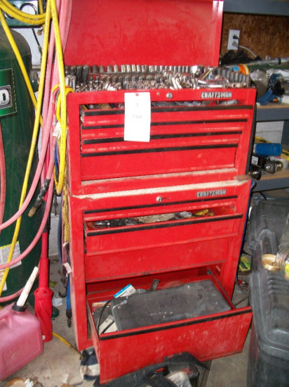 Craftsman Two Section Stack Tool Box with Craftsman and misc. Tools