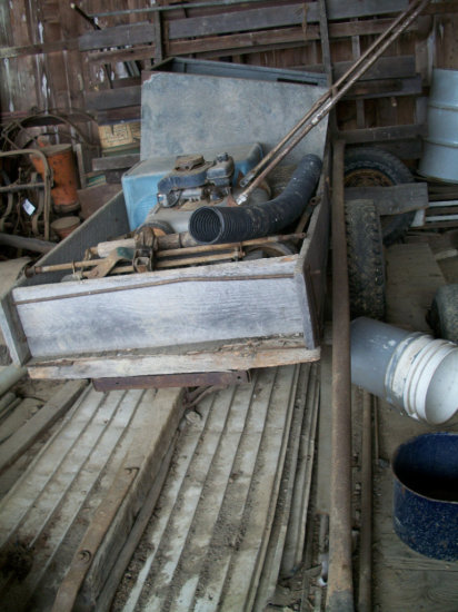 """Old homemade trailer 44""""x8'L and push-mower and reel mower parts"""