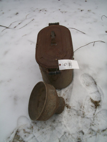 Copper Boiler with tin lid, and milk strainer