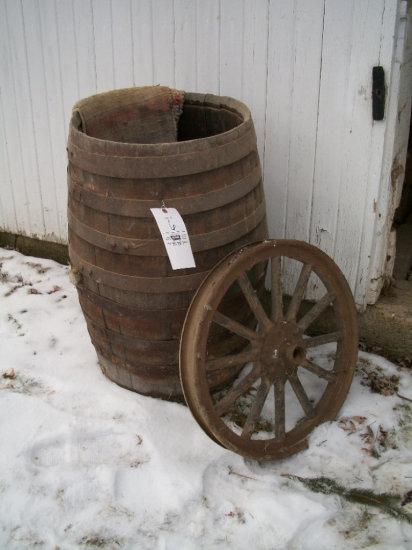 Whiskey Barrel (no lid) and wood spoke rim