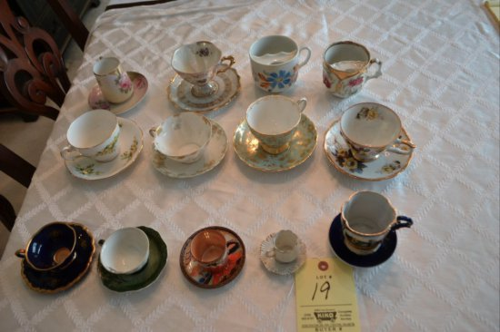 11 Cups & Saucers/ 2 Mustache Cups
