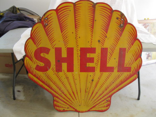 Shell Two sided Porcelain Sign