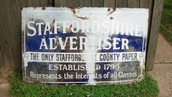 Staffordshire Advertiser County Paper Porcelain sign