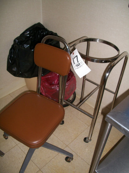Chair, trash can, and bag holder