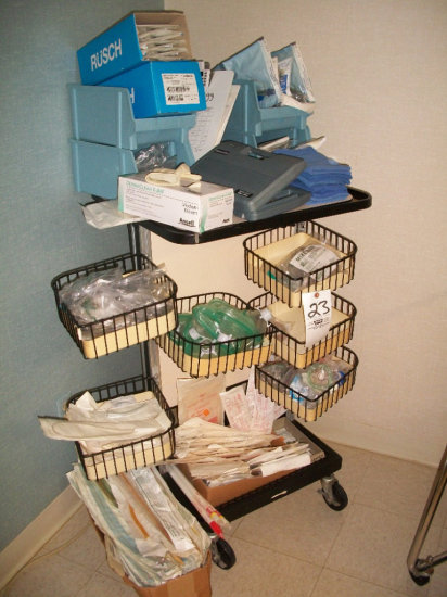 Medical cart w/ wire bins and medical supplies