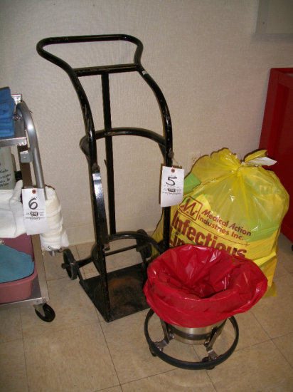 Oxygen Cart and S.S. Trash can