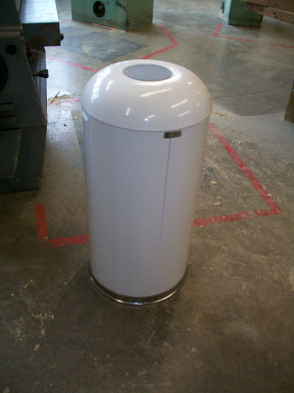 """4 Steel RubberMaid Commercial dome top trash bins 16"""" wide x 32"""" tall"""