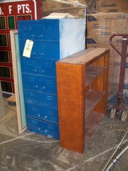 7 Drawer file box and wooden bookshelf