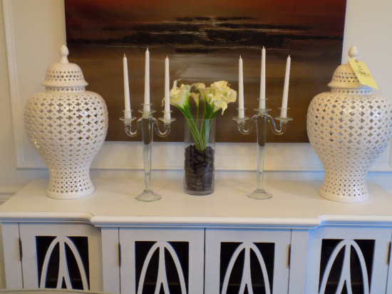 Center vase, candle holders