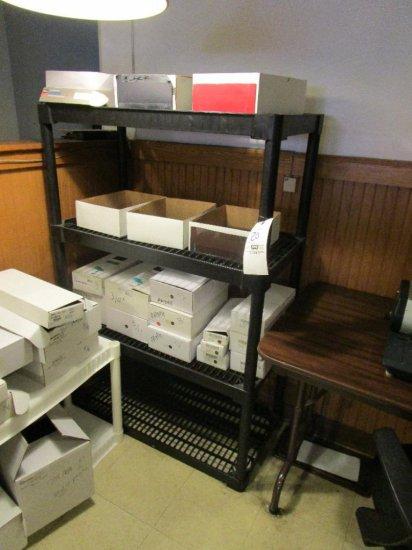 Two 4 shelf adjustable poly shelves